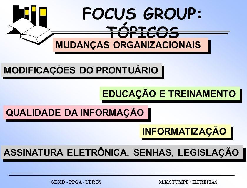 FOCUS GROUP: TÓPICOS MUDANÇAS ORGANIZACIONAIS