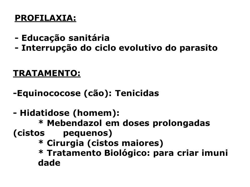 PROFILAXIA: - Educação sanitária. - Interrupção do ciclo evolutivo do parasito. TRATAMENTO: -Equinococose (cão): Tenicidas.