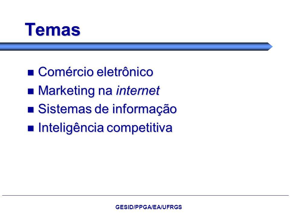 Temas Comércio eletrônico Marketing na internet Sistemas de informação