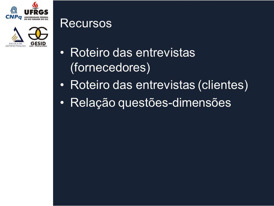 Recursos Roteiro das entrevistas (fornecedores) Roteiro das entrevistas (clientes) Relação questões-dimensões.