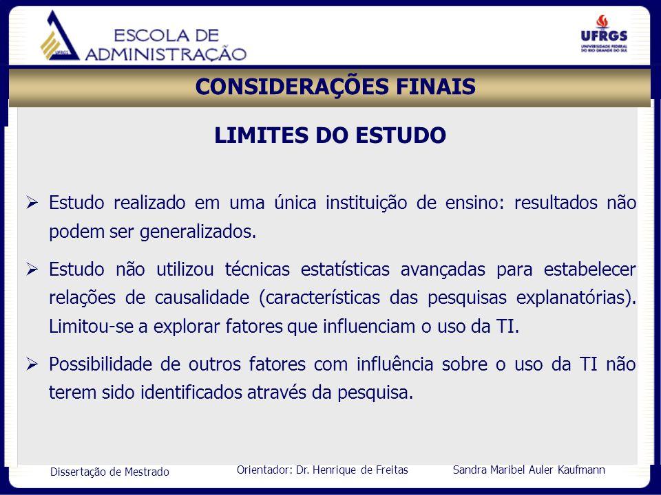 CONSIDERAÇÕES FINAIS LIMITES DO ESTUDO