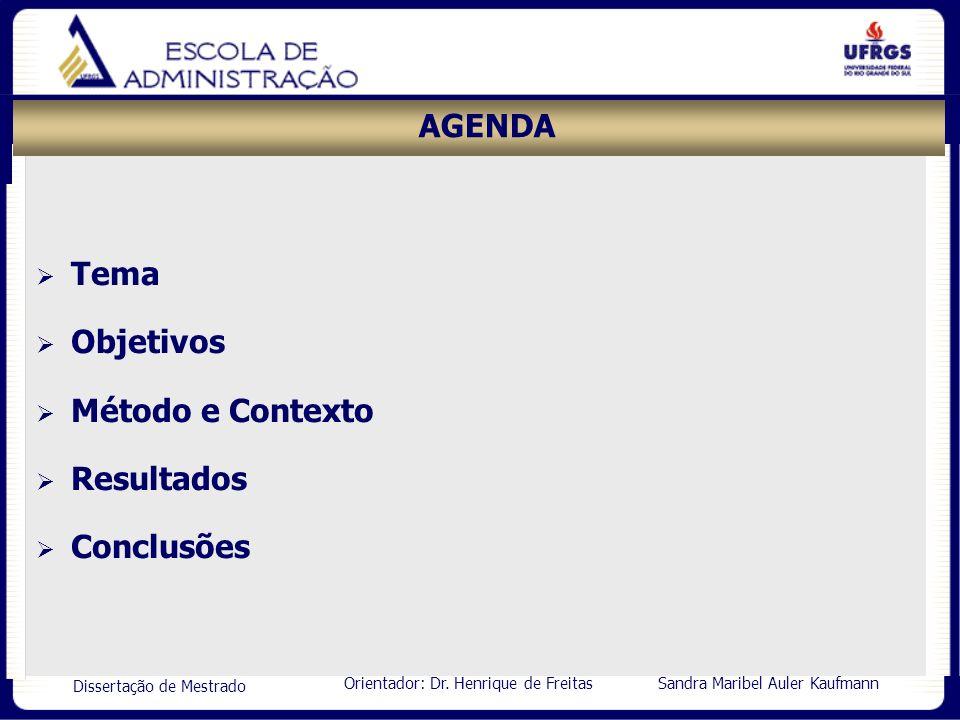 AGENDA Tema Objetivos Método e Contexto Resultados Conclusões