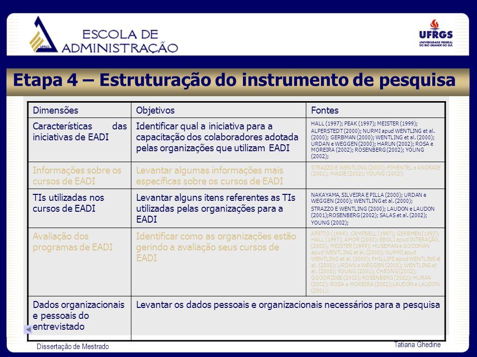 Etapa 4 – Estruturação do instrumento de pesquisa