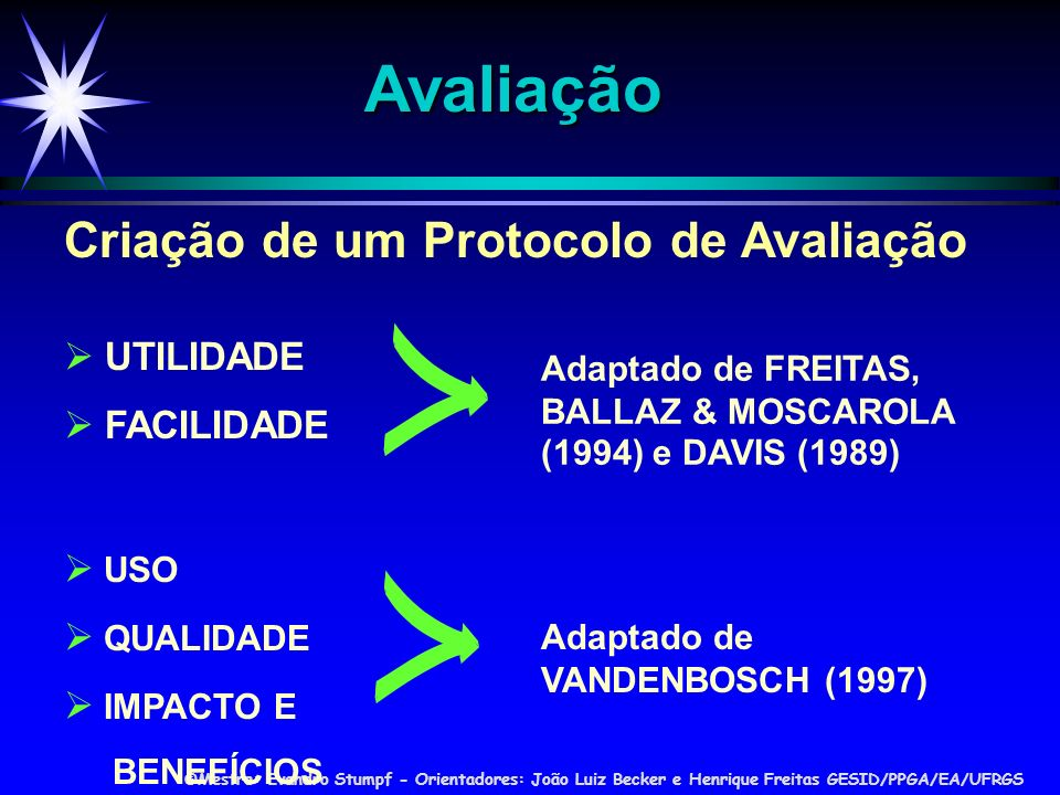 Avaliação Criação de um Protocolo de Avaliação  UTILIDADE