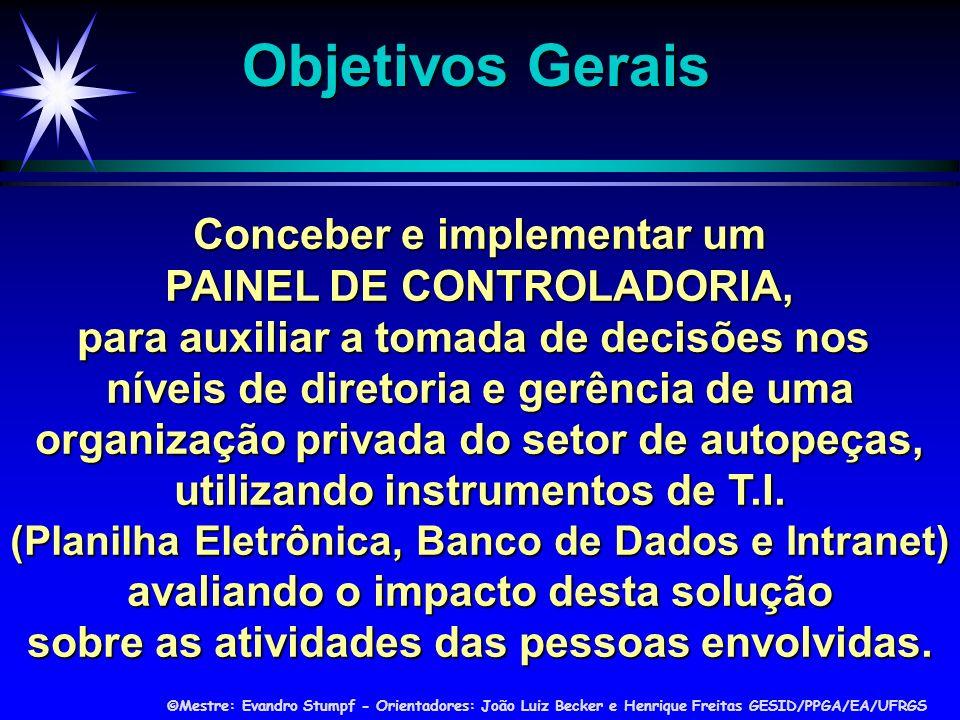 Objetivos Gerais Conceber e implementar um PAINEL DE CONTROLADORIA,