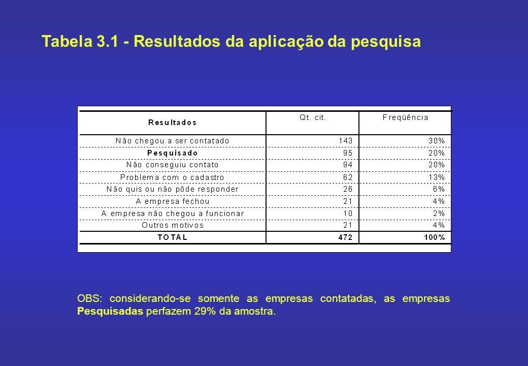 Tabela 3.1 - Resultados da aplicação da pesquisa