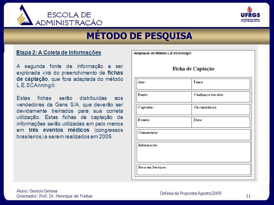 MÉTODO DE PESQUISA Etapa 2: A Coleta de Informações