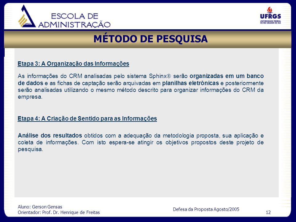 MÉTODO DE PESQUISA Etapa 3: A Organização das Informações