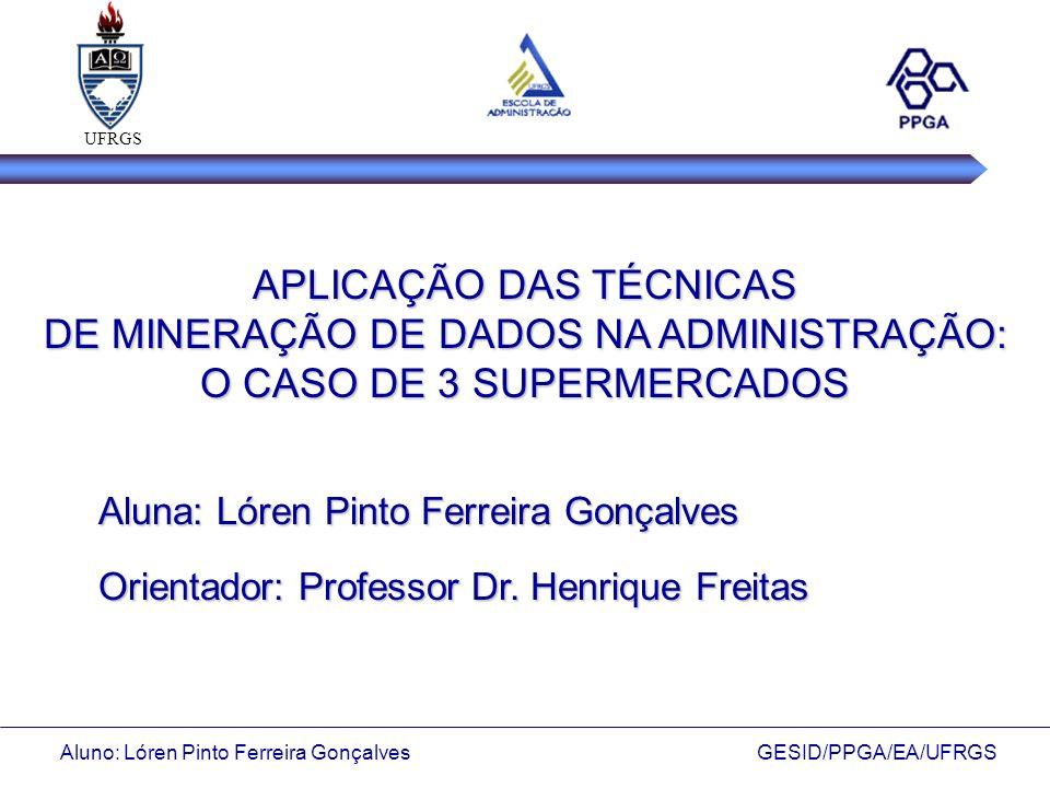 UFRGS APLICAÇÃO DAS TÉCNICAS DE MINERAÇÃO DE DADOS NA ADMINISTRAÇÃO: O CASO DE 3 SUPERMERCADOS. Aluna: Lóren Pinto Ferreira Gonçalves.
