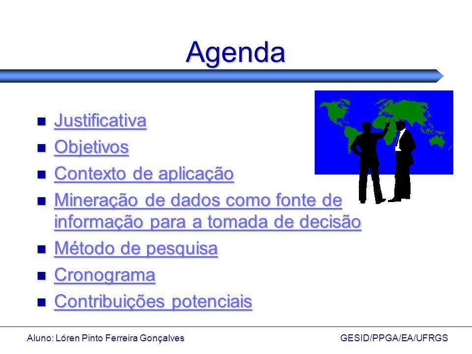 Agenda Justificativa Objetivos Contexto de aplicação