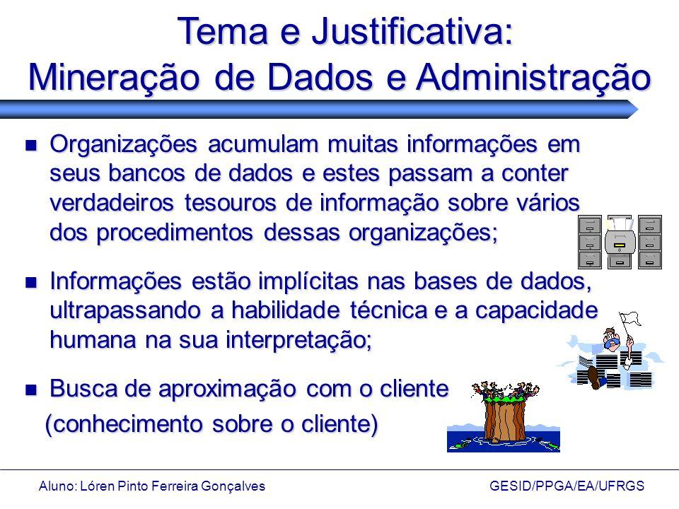 Tema e Justificativa: Mineração de Dados e Administração