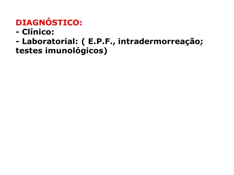 DIAGNÓSTICO: - Clínico: - Laboratorial: ( E.P.F., intradermorreação; testes imunológicos)