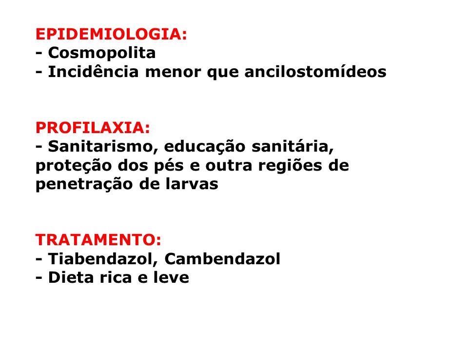 EPIDEMIOLOGIA: - Cosmopolita. - Incidência menor que ancilostomídeos. PROFILAXIA: