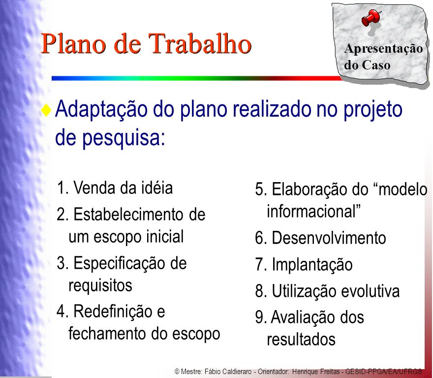 Plano de Trabalho Adaptação do plano realizado no projeto de pesquisa: