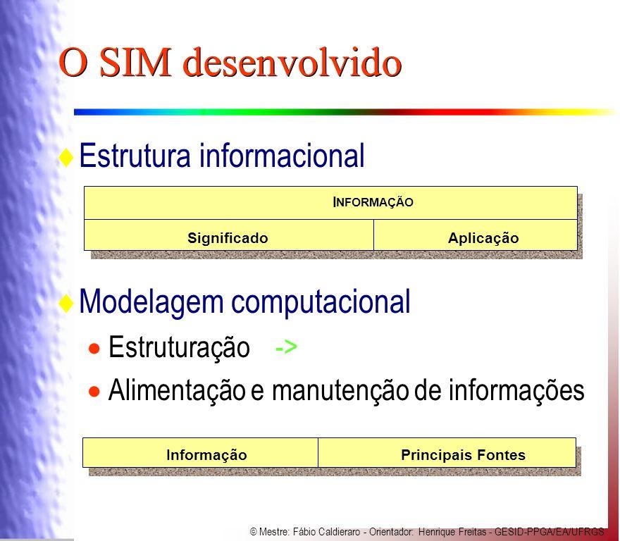 O SIM desenvolvido Estrutura informacional Modelagem computacional