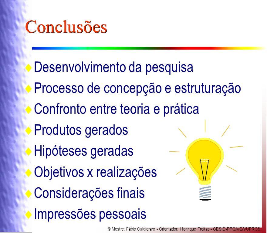 Conclusões Desenvolvimento da pesquisa