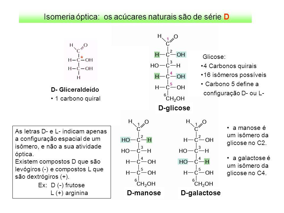 Isomeria óptica: os acúcares naturais são de série D