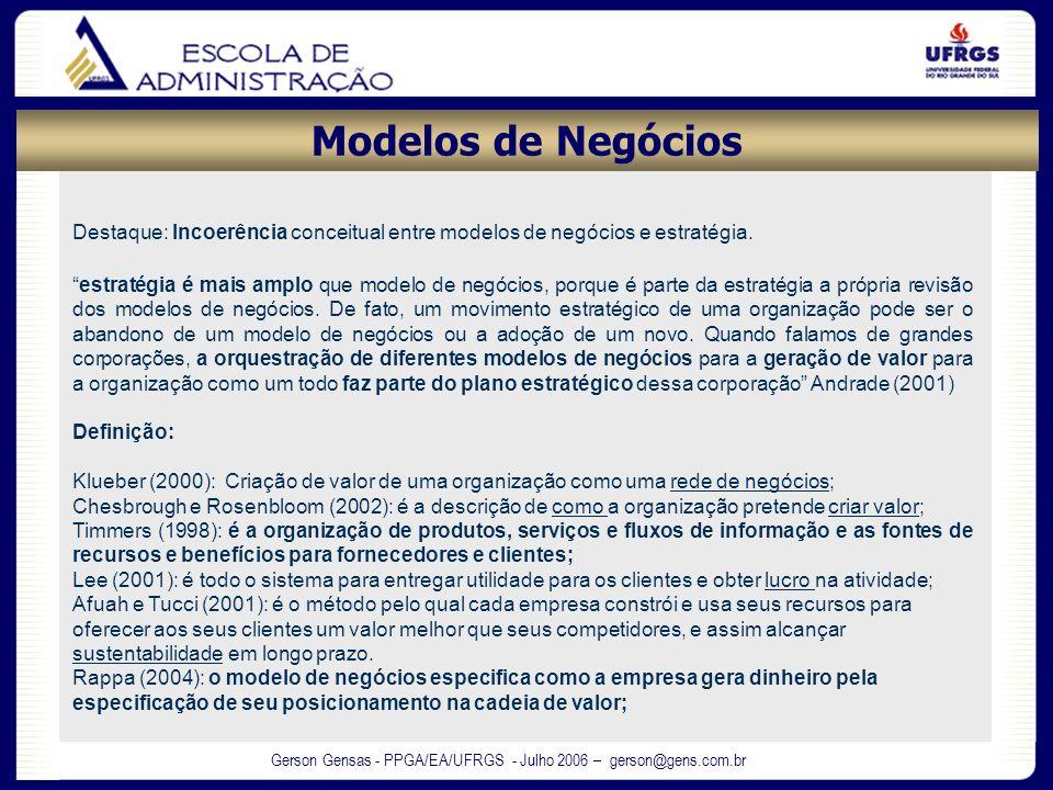 Modelos de NegóciosDestaque: Incoerência conceitual entre modelos de negócios e estratégia.