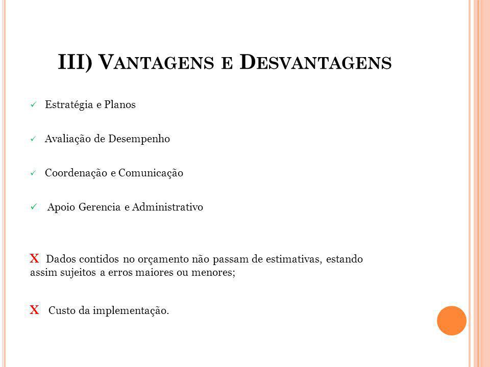 III) Vantagens e Desvantagens