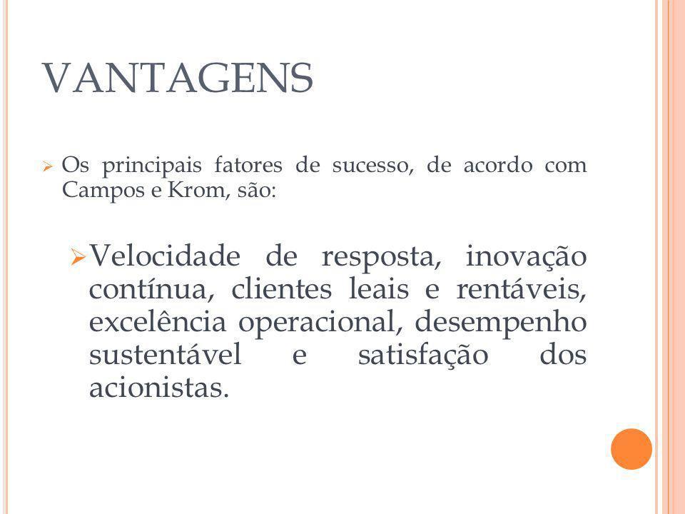 VANTAGENS Os principais fatores de sucesso, de acordo com Campos e Krom, são:
