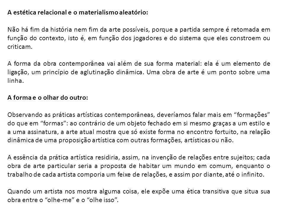A estética relacional e o materialismo aleatório: