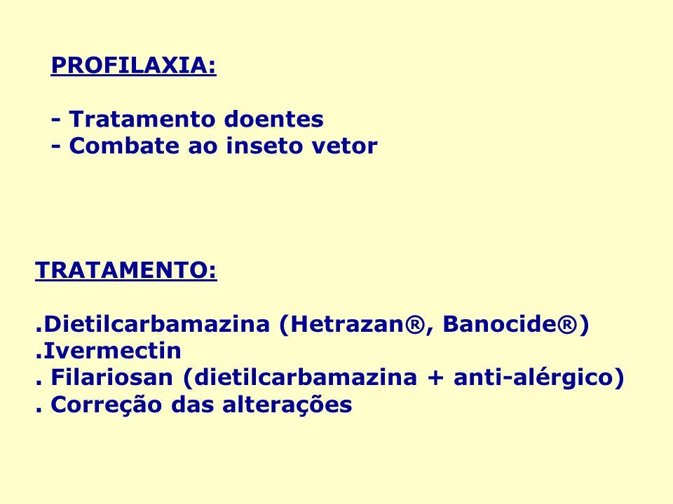 PROFILAXIA: - Tratamento doentes. - Combate ao inseto vetor. TRATAMENTO: .Dietilcarbamazina (Hetrazan®, Banocide®)
