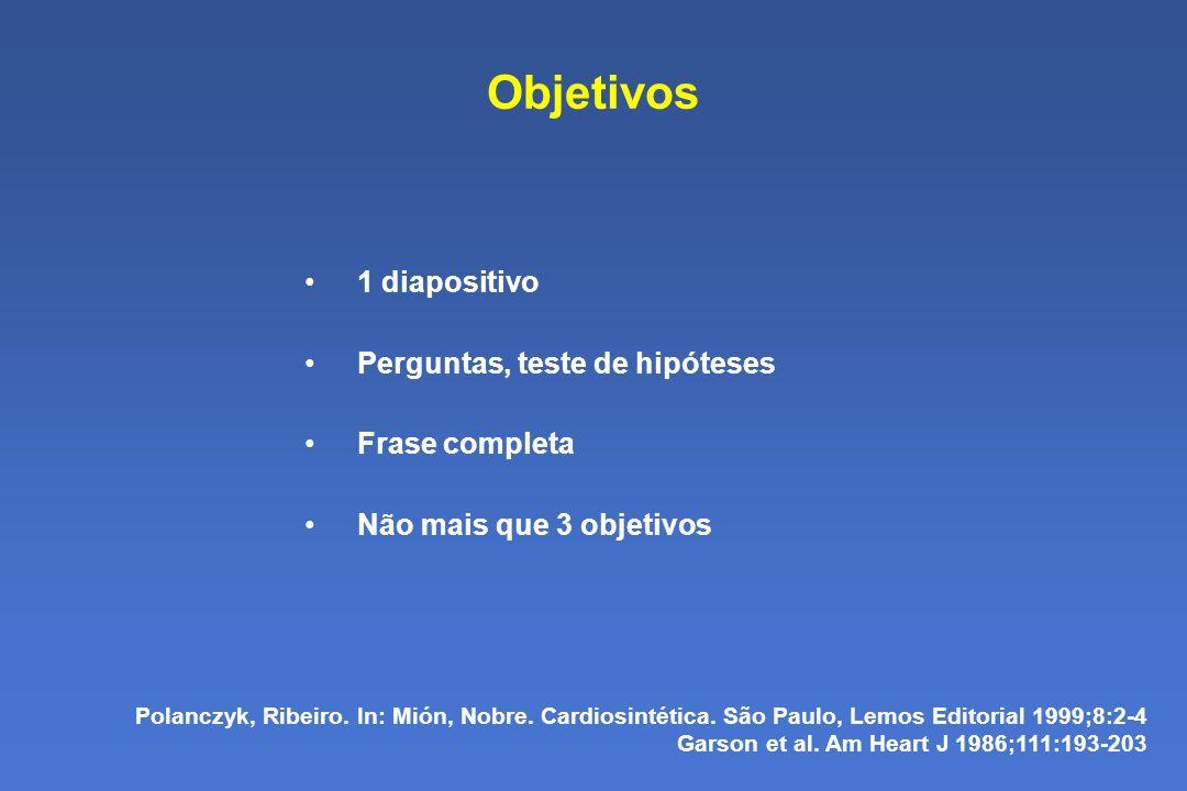 Objetivos 1 diapositivo Perguntas, teste de hipóteses Frase completa