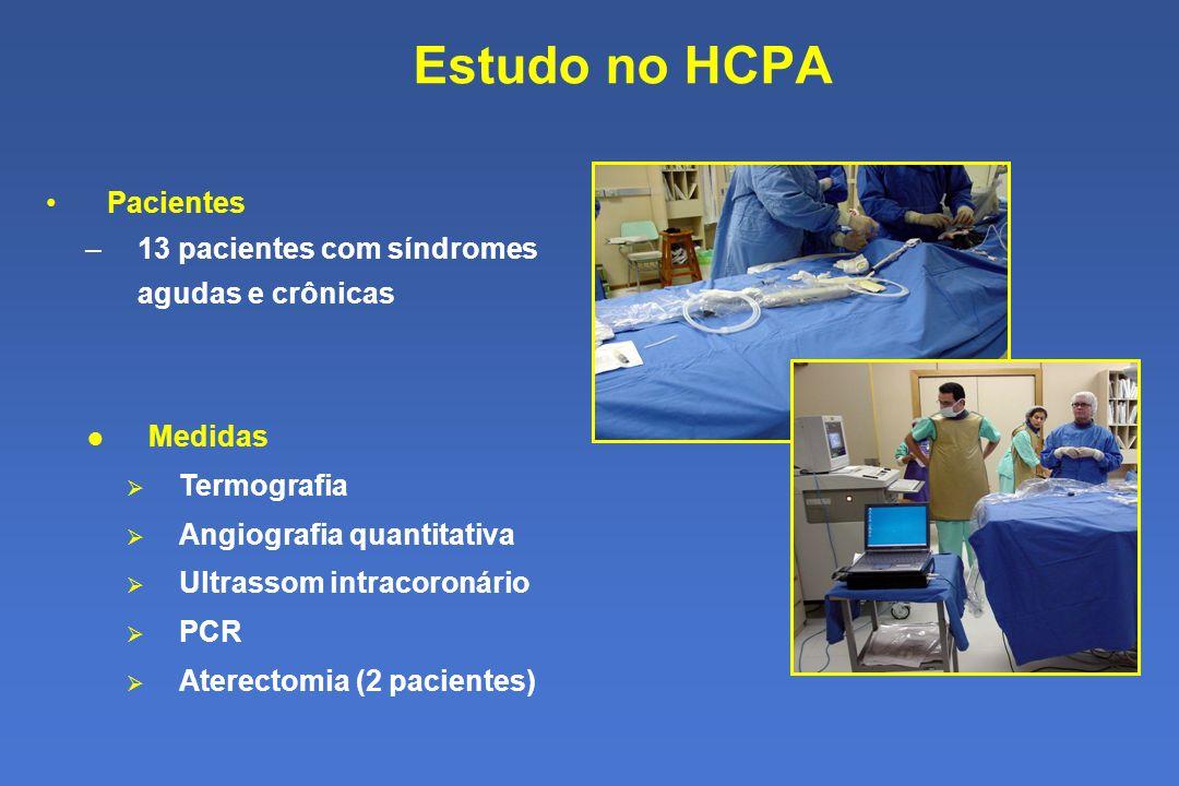 Estudo no HCPA Pacientes 13 pacientes com síndromes agudas e crônicas