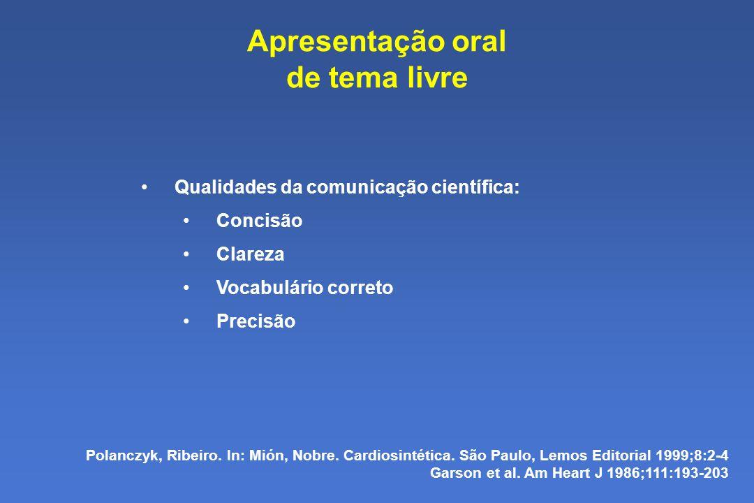 Apresentação oral de tema livre
