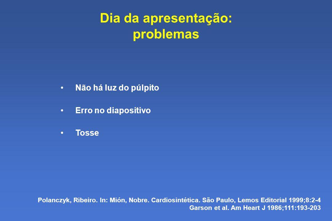 Dia da apresentação: problemas