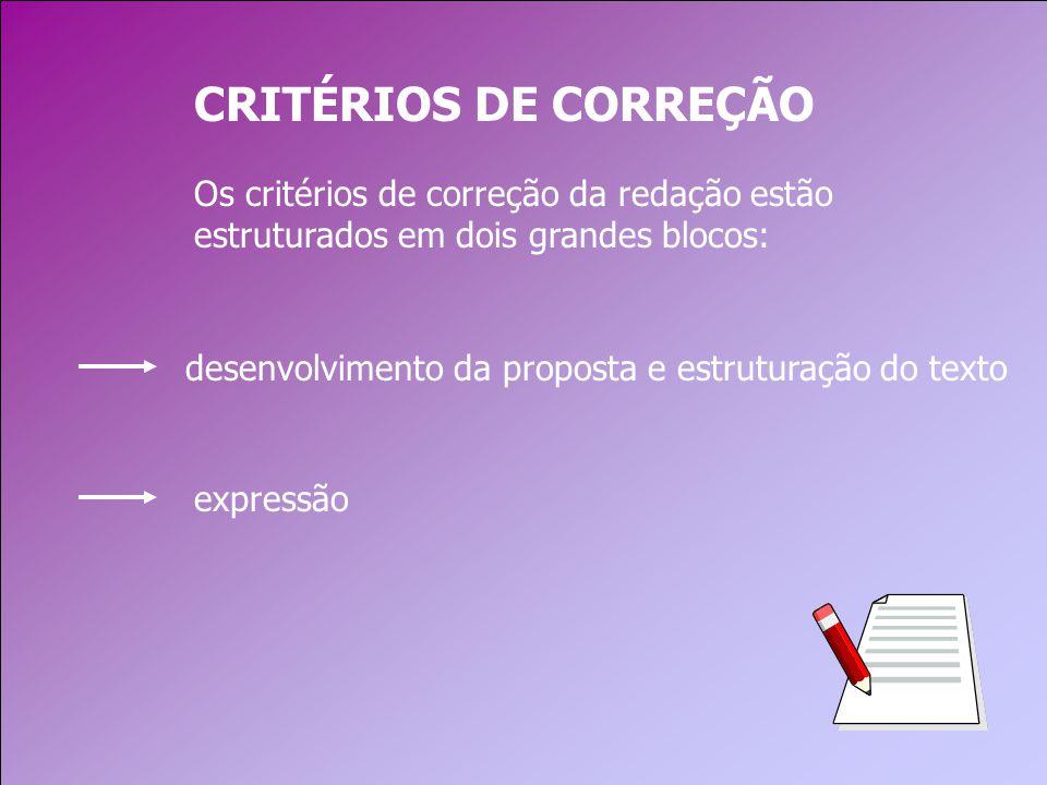 CRITÉRIOS DE CORREÇÃO Os critérios de correção da redação estão estruturados em dois grandes blocos: