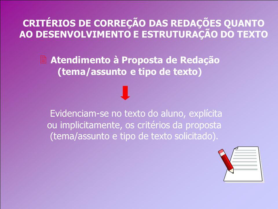Atendimento à Proposta de Redação (tema/assunto e tipo de texto)