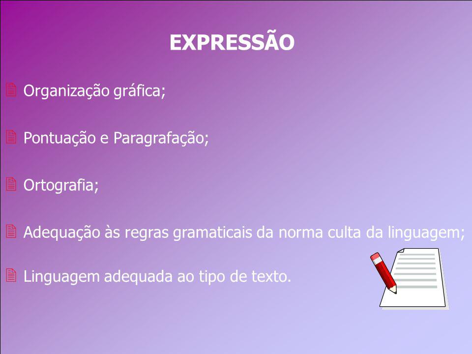 EXPRESSÃO Organização gráfica; Pontuação e Paragrafação; Ortografia;