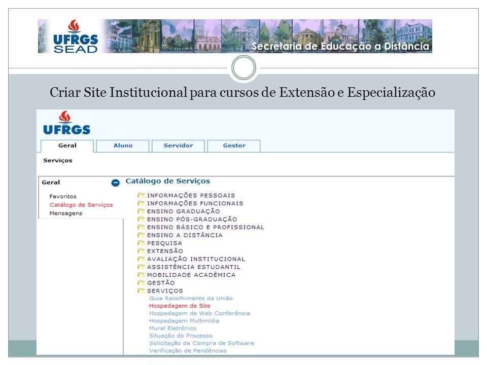 Criar Site Institucional para cursos de Extensão e Especialização