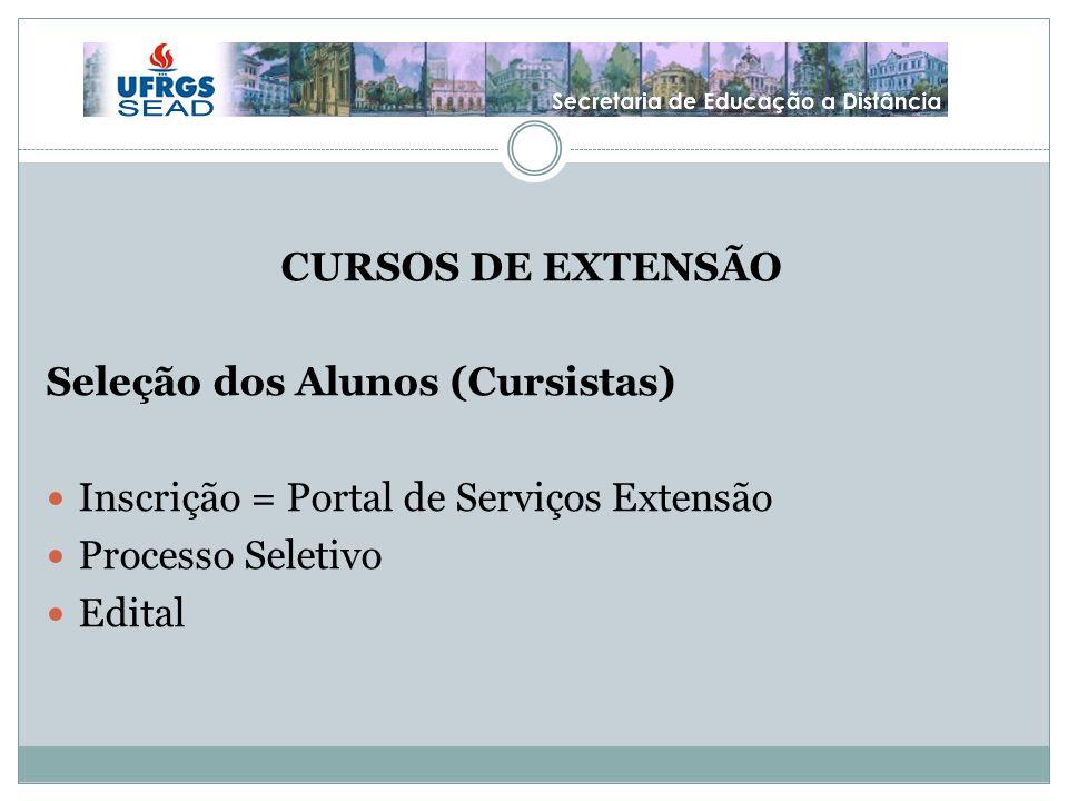 CURSOS DE EXTENSÃO Seleção dos Alunos (Cursistas) Inscrição = Portal de Serviços Extensão. Processo Seletivo.