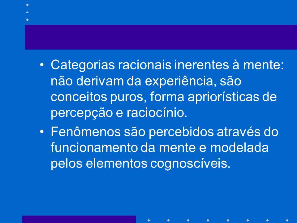 Categorias racionais inerentes à mente: não derivam da experiência, são conceitos puros, forma apriorísticas de percepção e raciocínio.