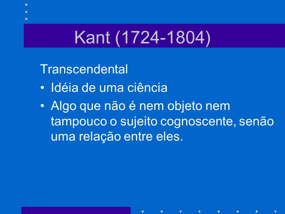 Kant (1724-1804) Transcendental Idéia de uma ciência