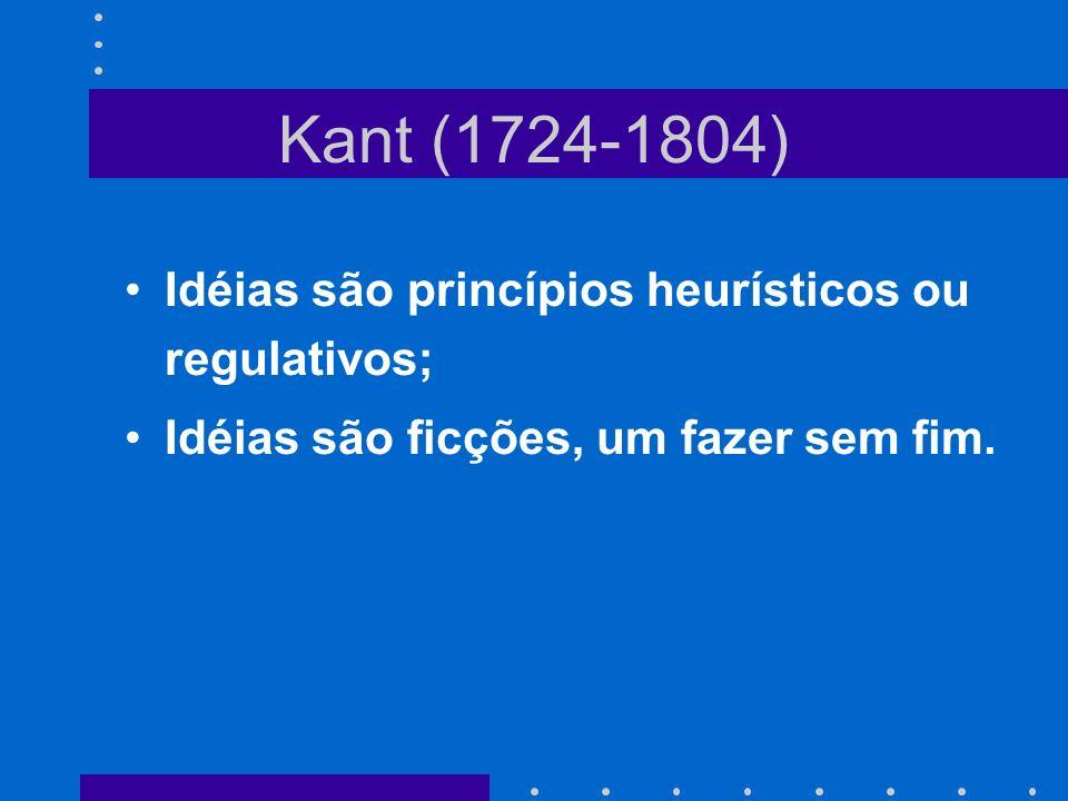 Kant (1724-1804) Idéias são princípios heurísticos ou regulativos;
