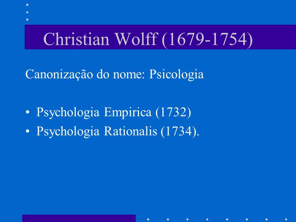 Christian Wolff (1679-1754) Canonização do nome: Psicologia
