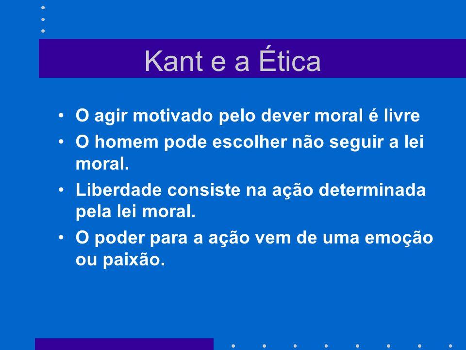 Kant e a Ética O agir motivado pelo dever moral é livre