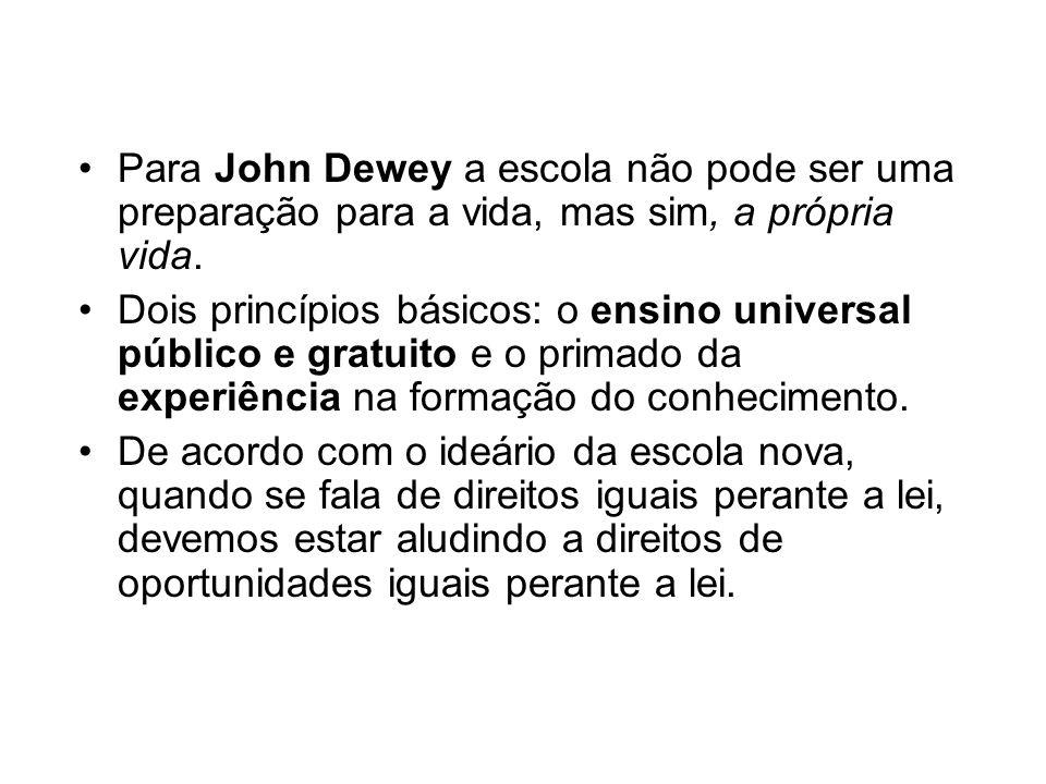 Para John Dewey a escola não pode ser uma preparação para a vida, mas sim, a própria vida.