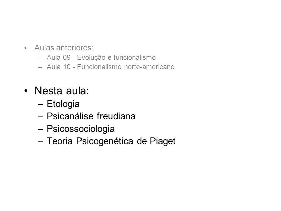 Nesta aula: Etologia Psicanálise freudiana Psicossociologia
