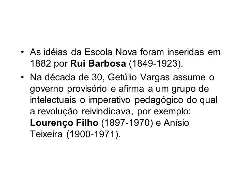 As idéias da Escola Nova foram inseridas em 1882 por Rui Barbosa (1849-1923).