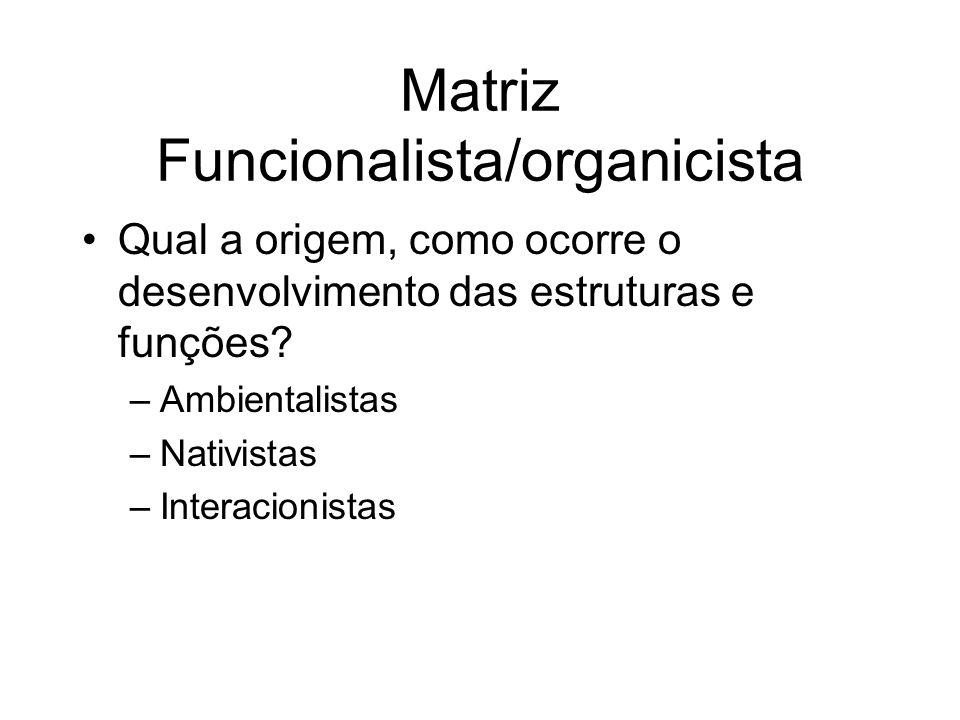 Matriz Funcionalista/organicista