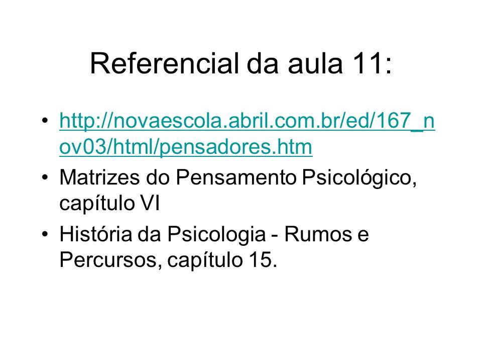 Referencial da aula 11:http://novaescola.abril.com.br/ed/167_nov03/html/pensadores.htm. Matrizes do Pensamento Psicológico, capítulo VI.
