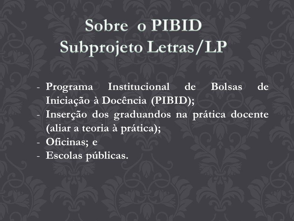 Sobre o PIBID Subprojeto Letras/LP