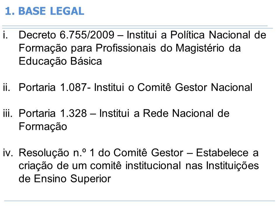 1. BASE LEGAL Decreto 6.755/2009 – Institui a Política Nacional de Formação para Profissionais do Magistério da Educação Básica.