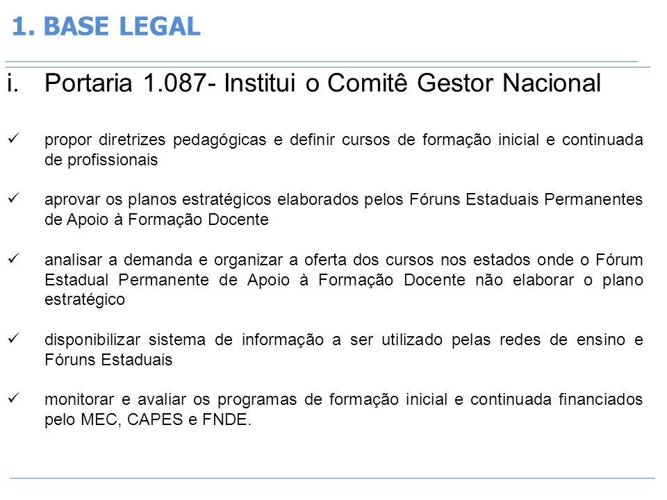 Portaria 1.087- Institui o Comitê Gestor Nacional