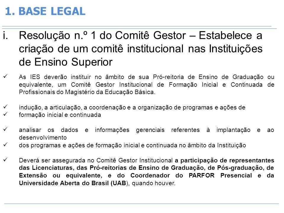 1. BASE LEGAL Resolução n.º 1 do Comitê Gestor – Estabelece a criação de um comitê institucional nas Instituições de Ensino Superior.