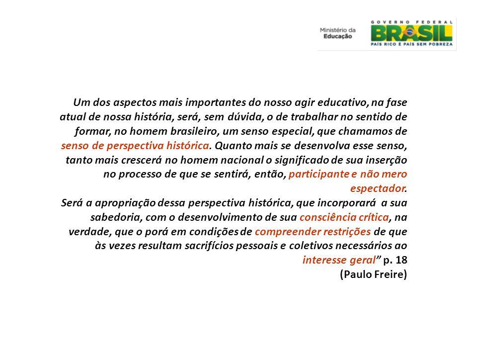 Um dos aspectos mais importantes do nosso agir educativo, na fase atual de nossa história, será, sem dúvida, o de trabalhar no sentido de formar, no homem brasileiro, um senso especial, que chamamos de senso de perspectiva histórica.